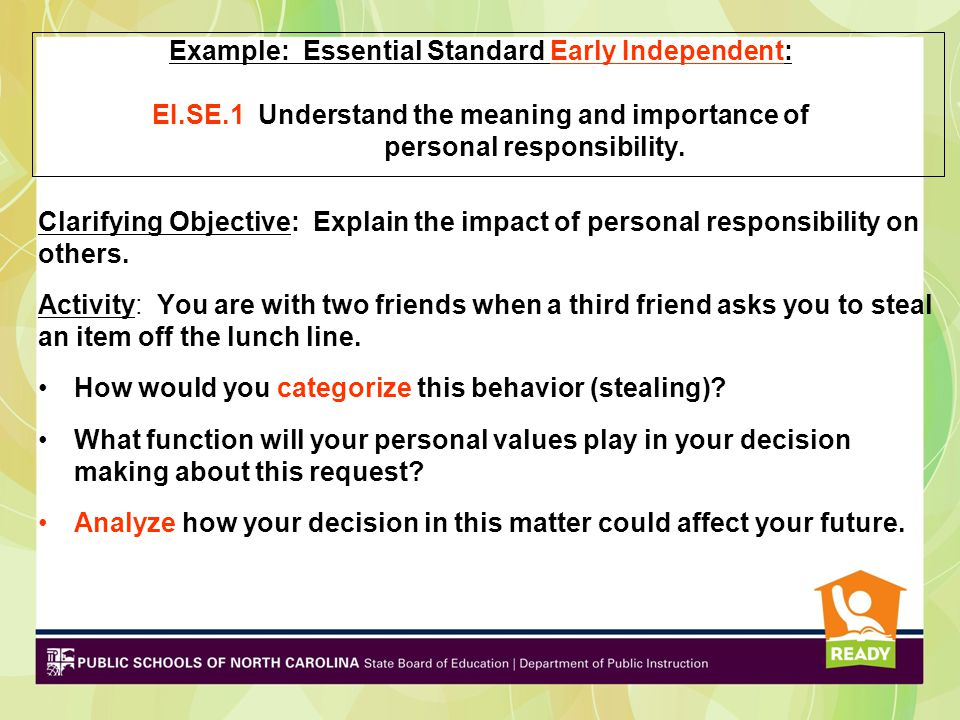 Example: Essential Standard Early Independent: EI. SE