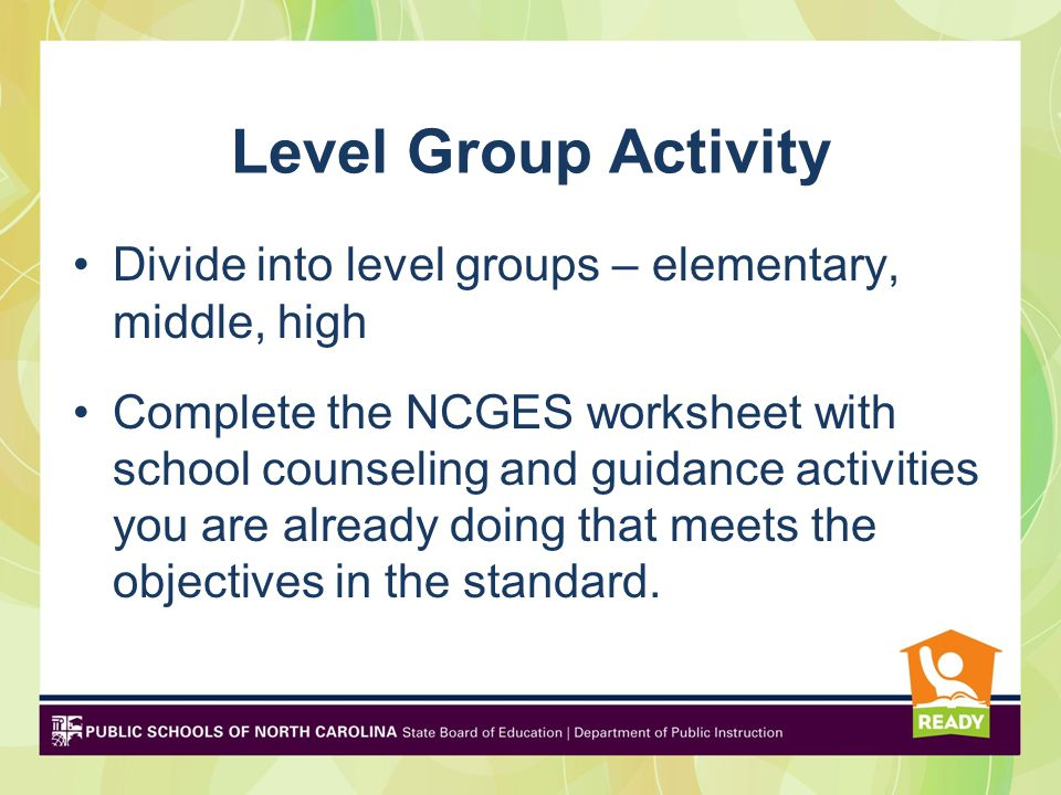 Level Group Activity Divide into level groups – elementary, middle, high.
