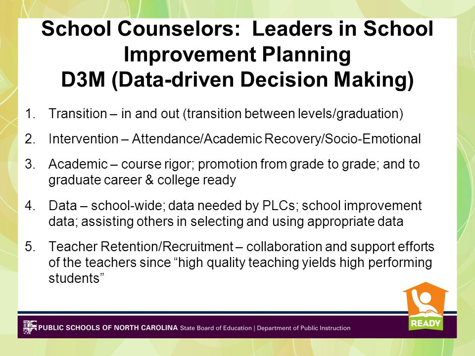School Counselors: Leaders in School Improvement Planning D3M (Data-driven Decision Making)