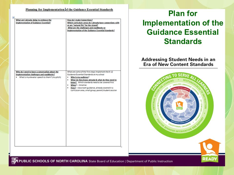 Plan for Implementation of the Guidance Essential Standards