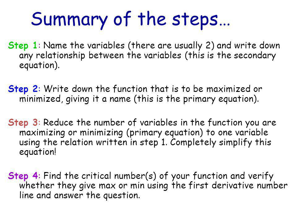 Summary of the steps…