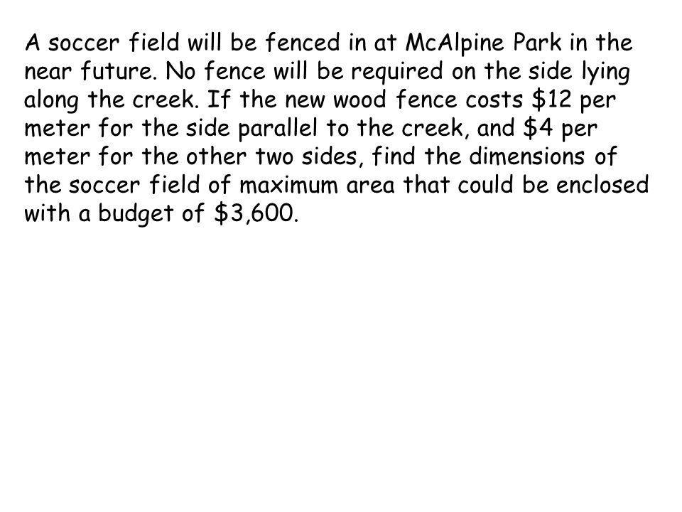 A soccer field will be fenced in at McAlpine Park in the near future