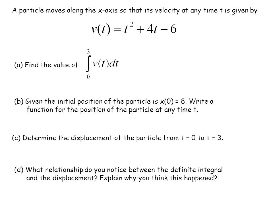 A particle moves along the x-axis so that its velocity at any time t is given by