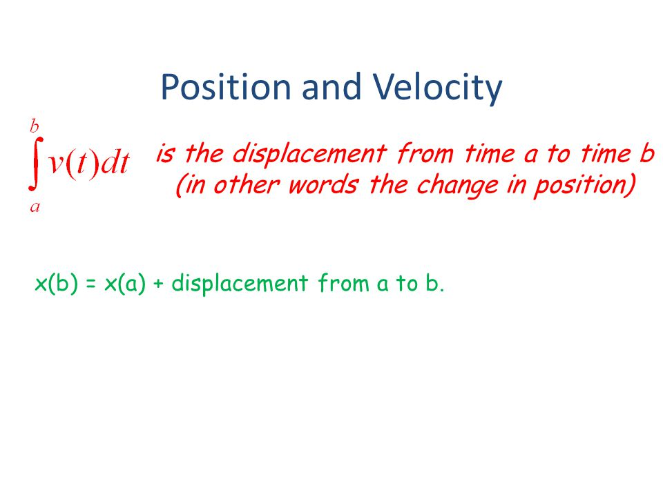 Position and Velocity is the displacement from time a to time b (in other words the change in position)