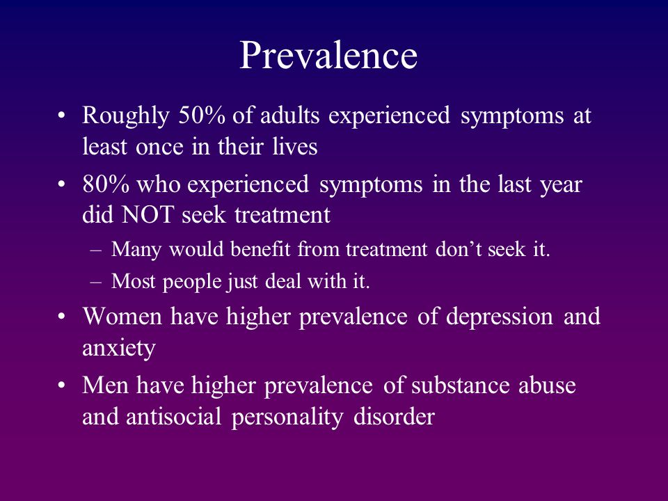 Prevalence Roughly 50% of adults experienced symptoms at least once in their lives.