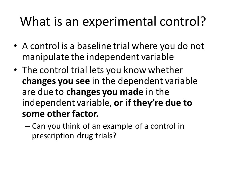 What is an experimental control