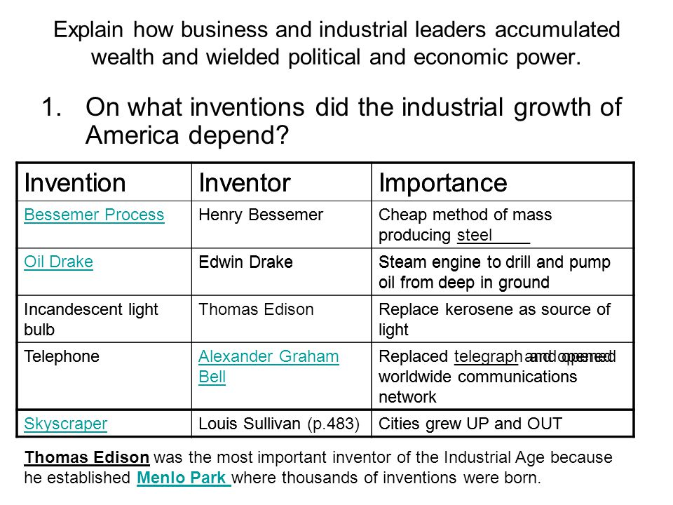 On what inventions did the industrial growth of America depend