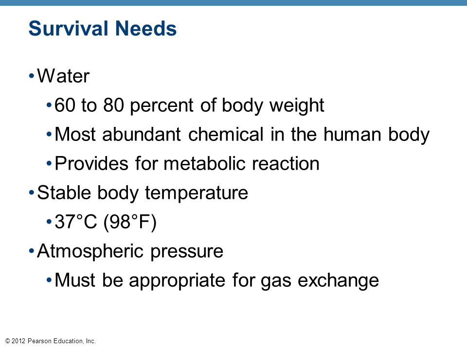 Survival Needs Water 60 to 80 percent of body weight