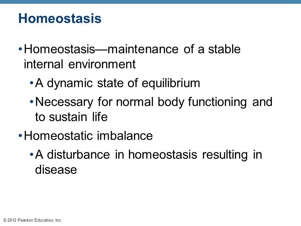 Homeostasis Homeostasis—maintenance of a stable internal environment