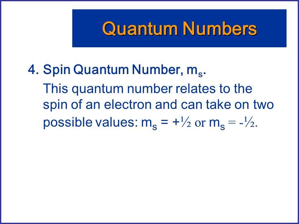 Quantum Numbers Spin Quantum Number, ms.