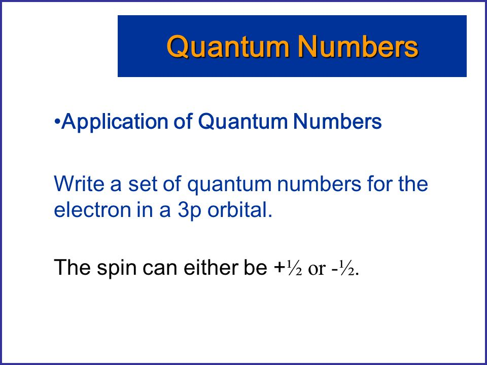 Quantum Numbers Application of Quantum Numbers