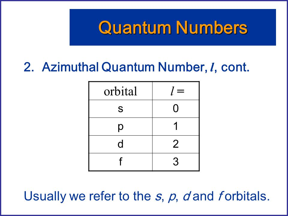 Quantum Numbers Azimuthal Quantum Number, l, cont.