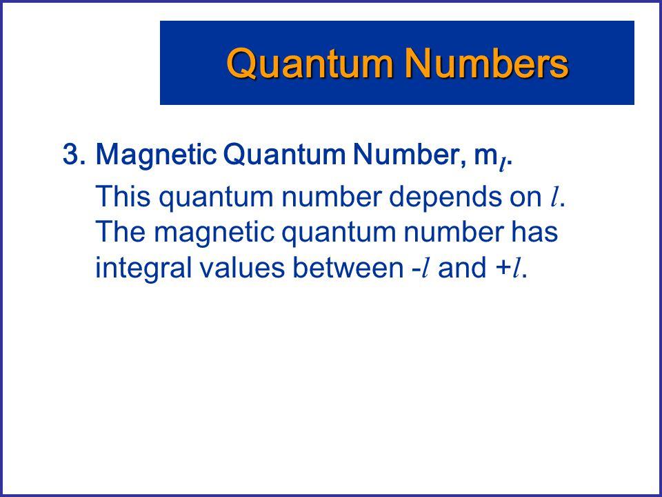Quantum Numbers Magnetic Quantum Number, ml.