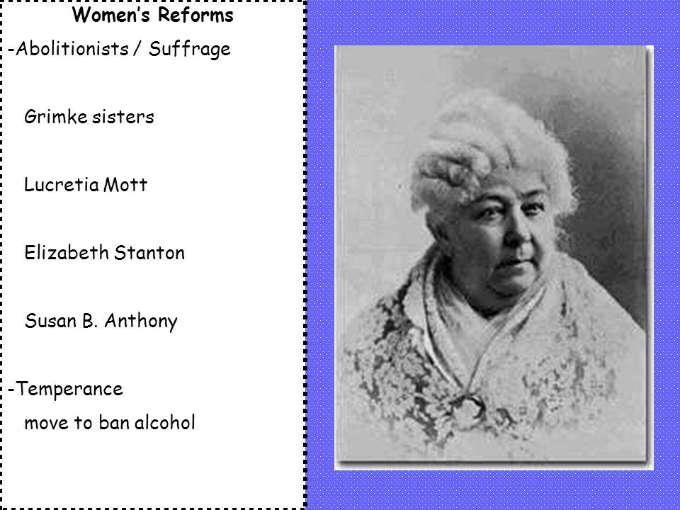 Women's Reforms -Abolitionists / Suffrage. Grimke sisters. Lucretia Mott. Elizabeth Stanton. Susan B. Anthony.