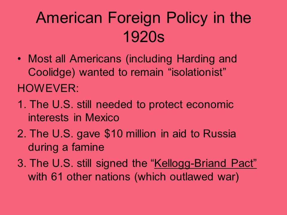 American Foreign Policy in the 1920s