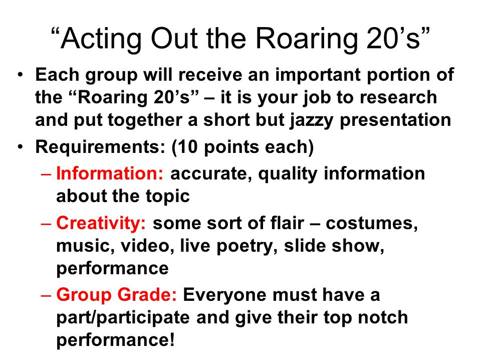 Acting Out the Roaring 20's