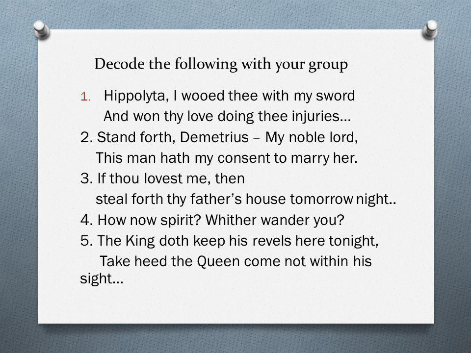 Decode the following with your group
