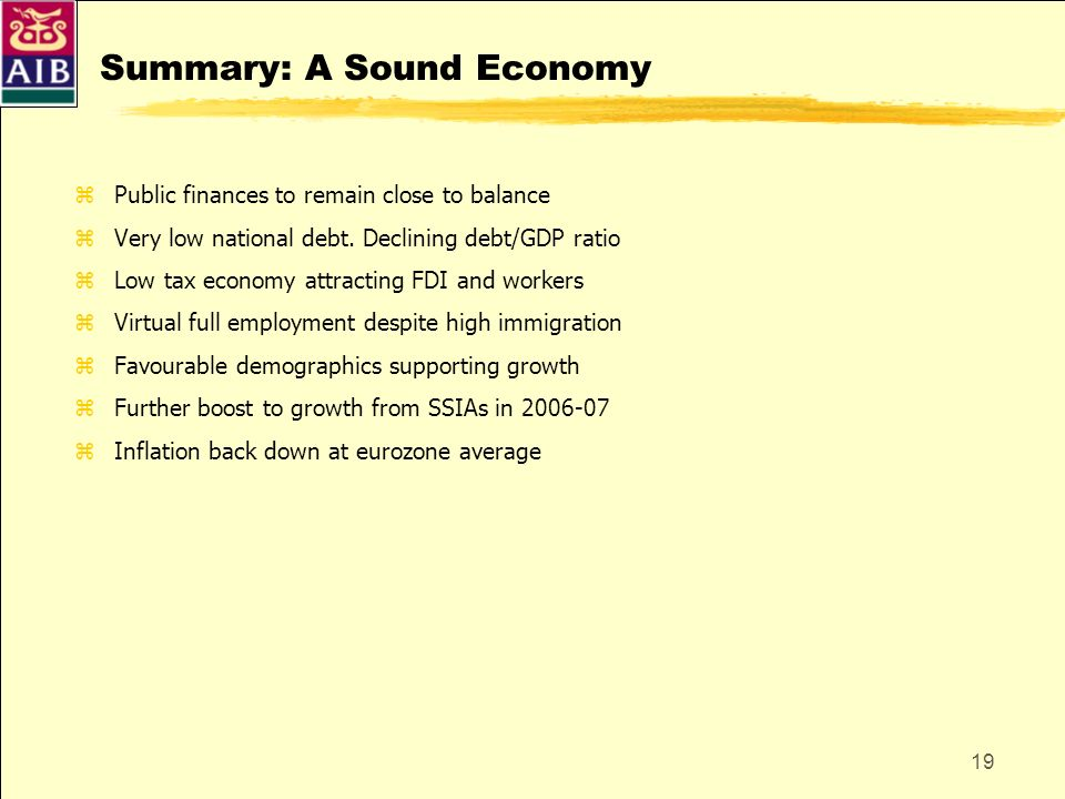 Summary: A Sound Economy