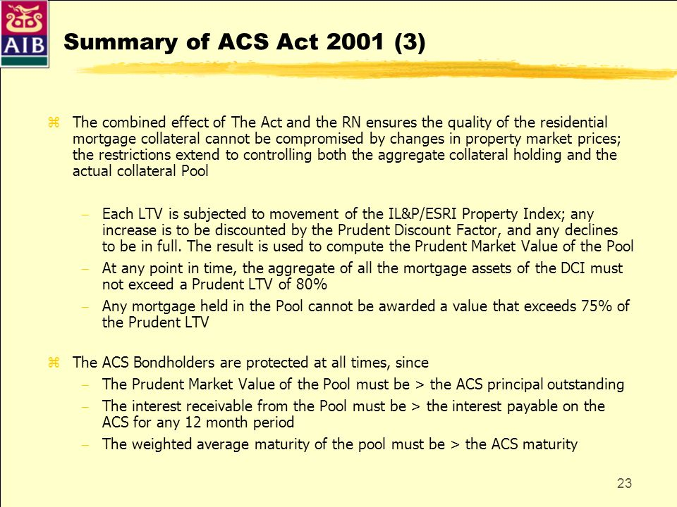 Summary of ACS Act 2001 (3)