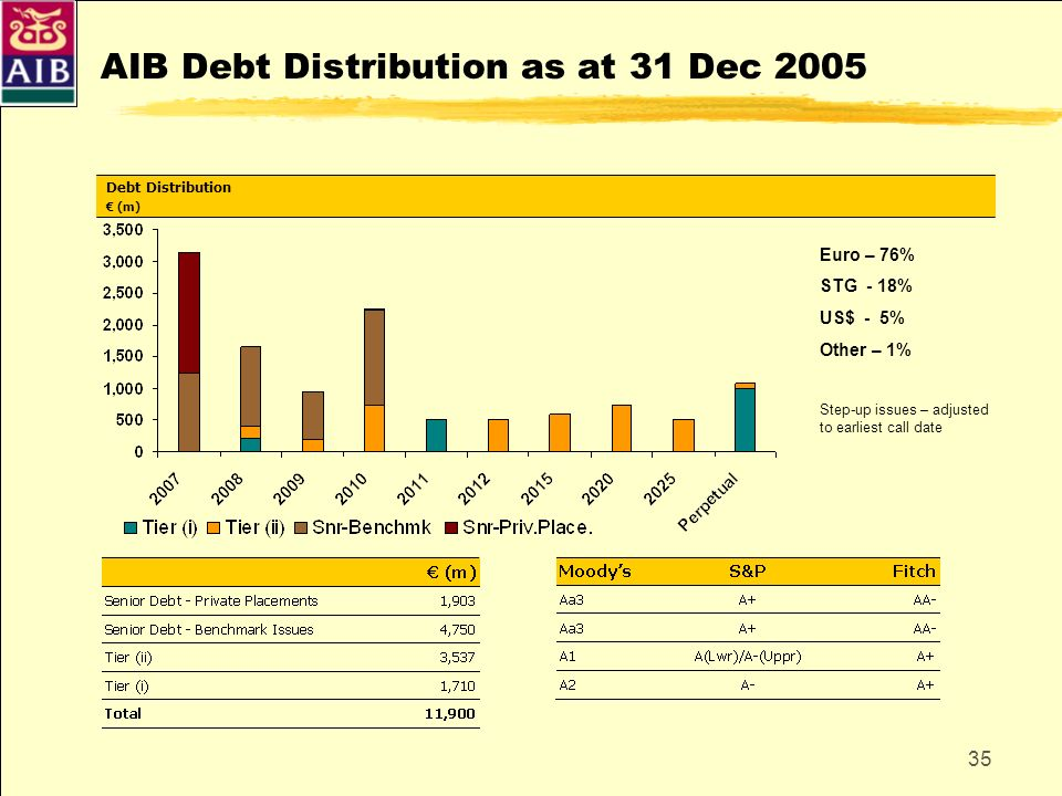 AIB Debt Distribution as at 31 Dec 2005