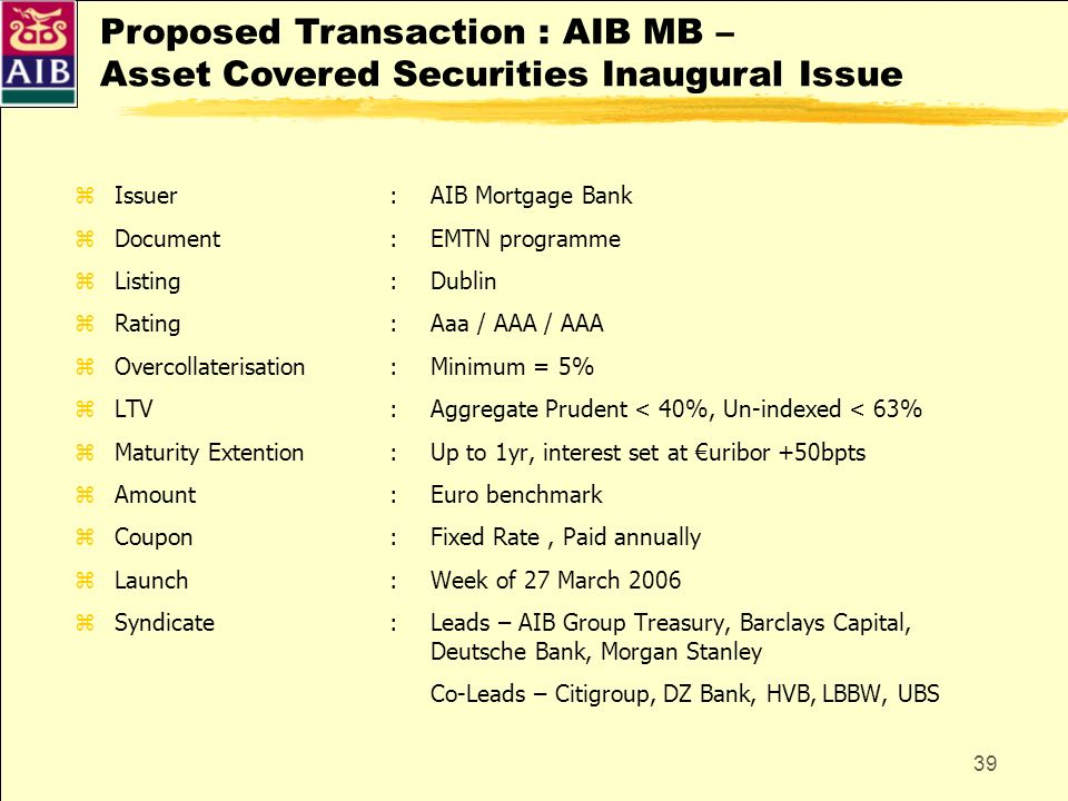 Proposed Transaction : AIB MB – Asset Covered Securities Inaugural Issue