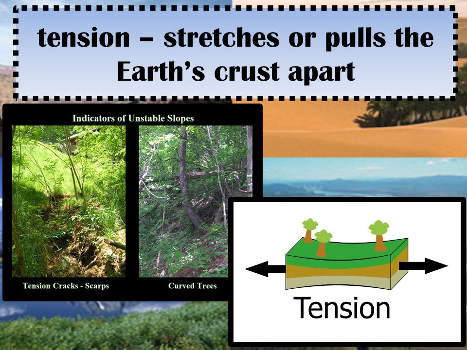 tension – stretches or pulls the Earth's crust apart