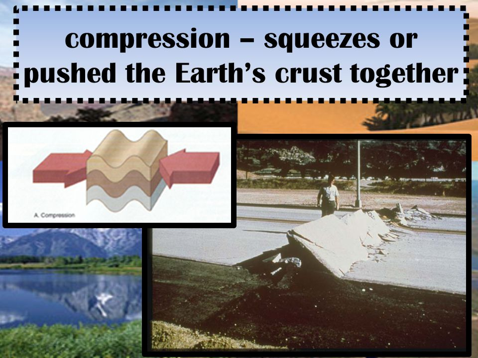 compression – squeezes or pushed the Earth's crust together