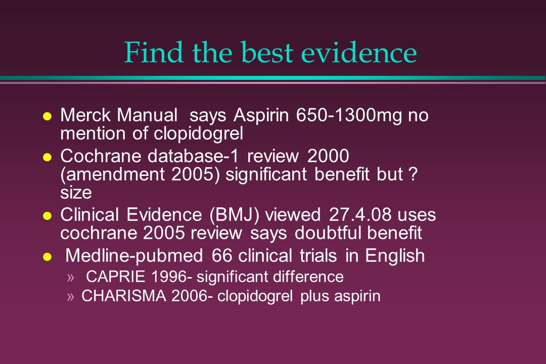 Find the best evidence Merck Manual says Aspirin 650-1300mg no mention of clopidogrel.