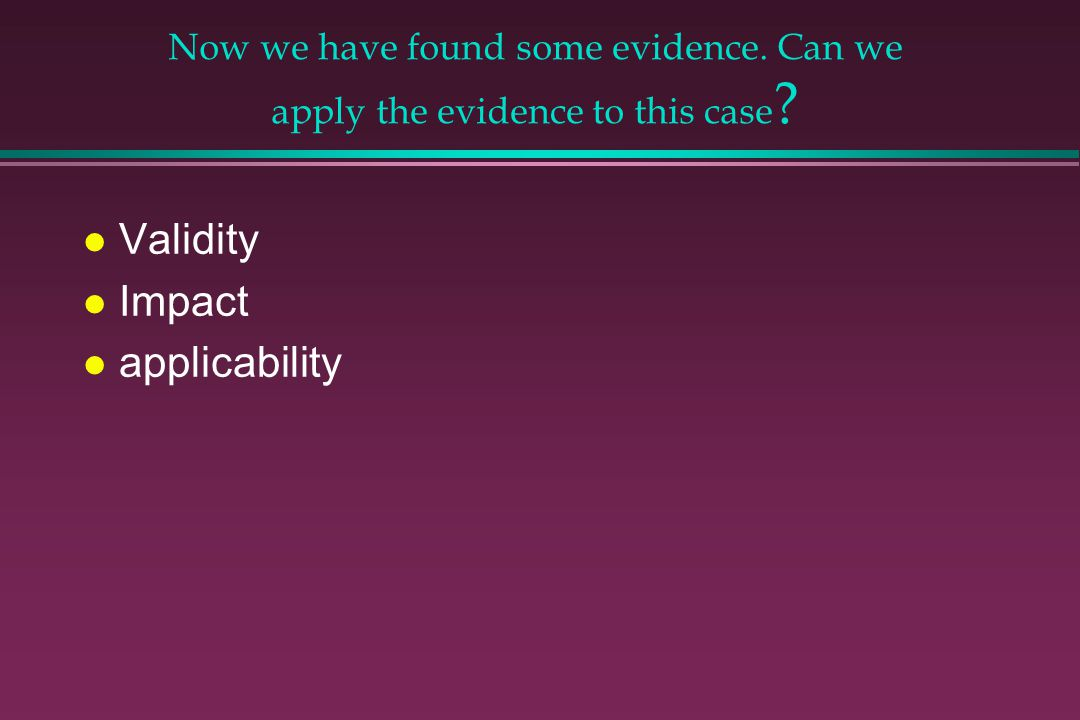 Validity Impact applicability