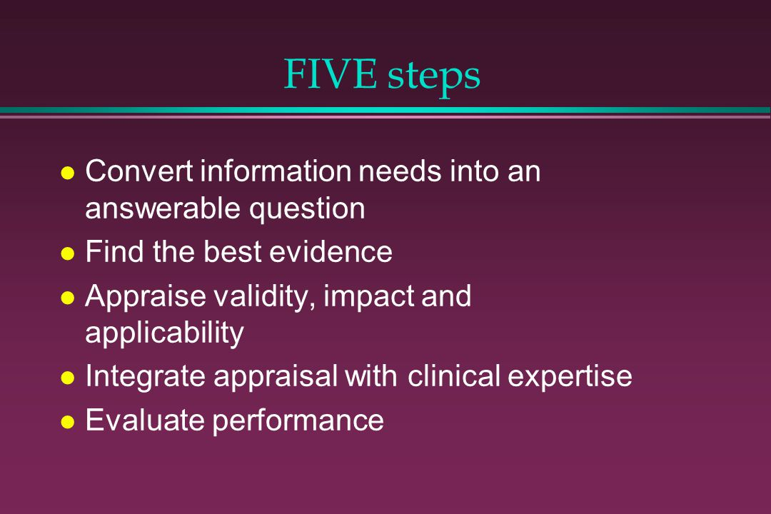 FIVE steps Convert information needs into an answerable question