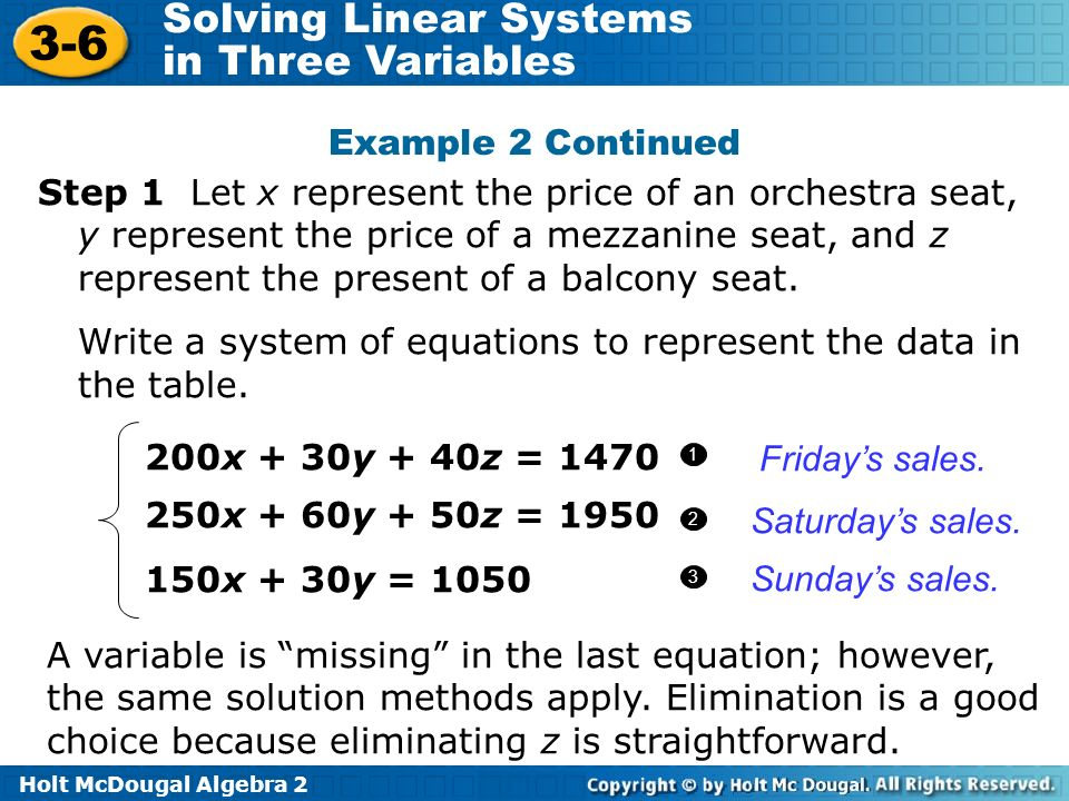 Write a system of equations to represent the data in the table.