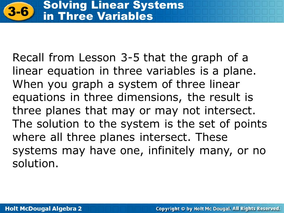 Recall from Lesson 3-5 that the graph of a linear equation in three variables is a plane.