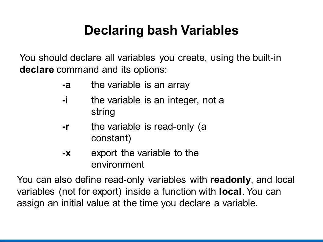 Declaring bash Variables