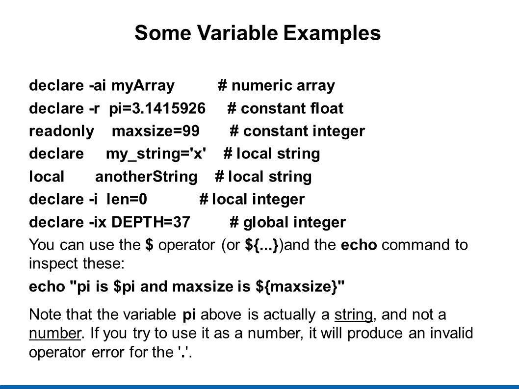 Some Variable Examples