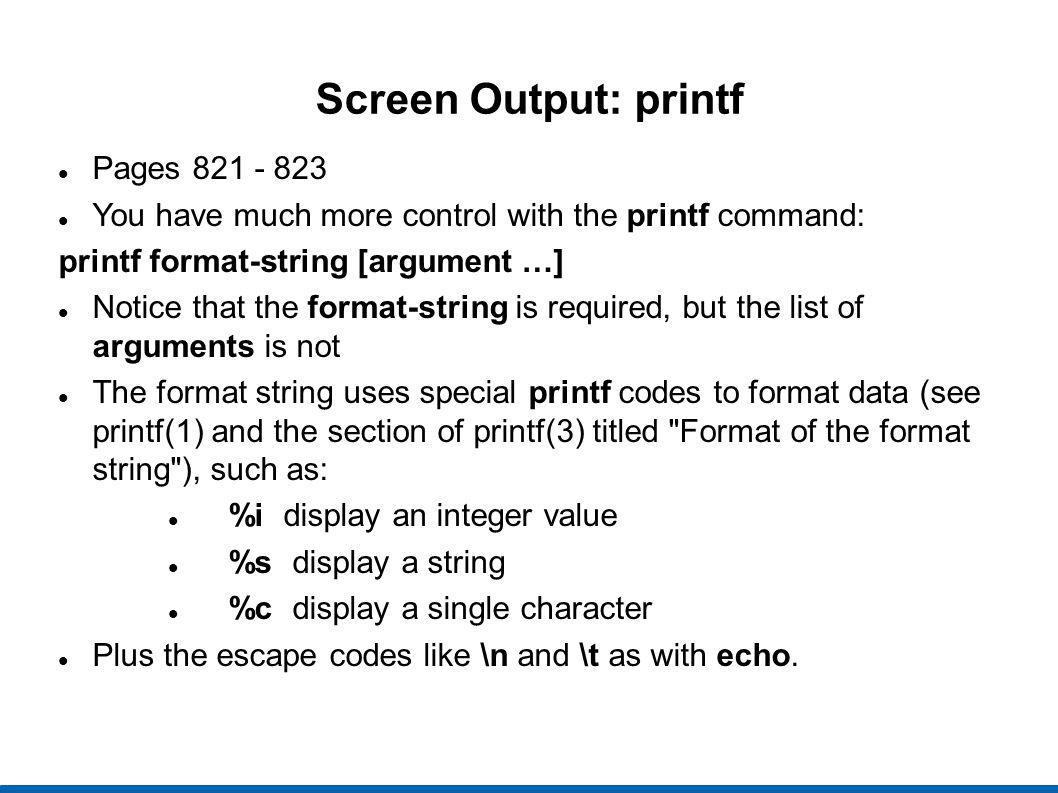 Screen Output: printf Pages 821 - 823