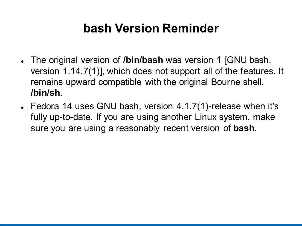 bash Version Reminder