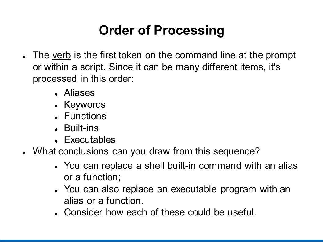 Order of Processing