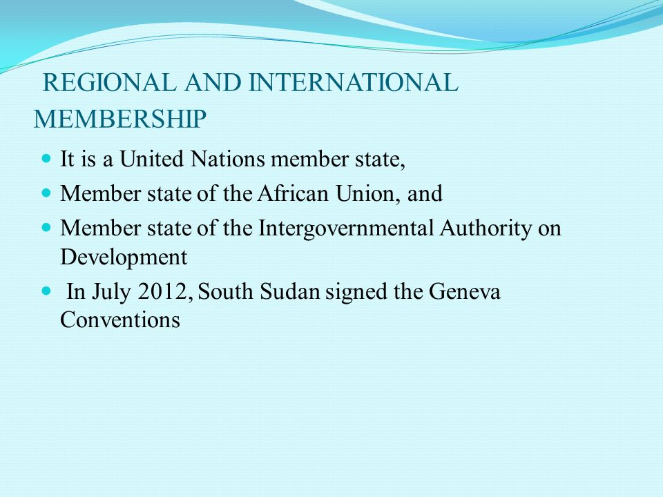 REGIONAL AND INTERNATIONAL MEMBERSHIP