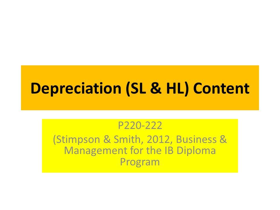Depreciation (SL & HL) Content