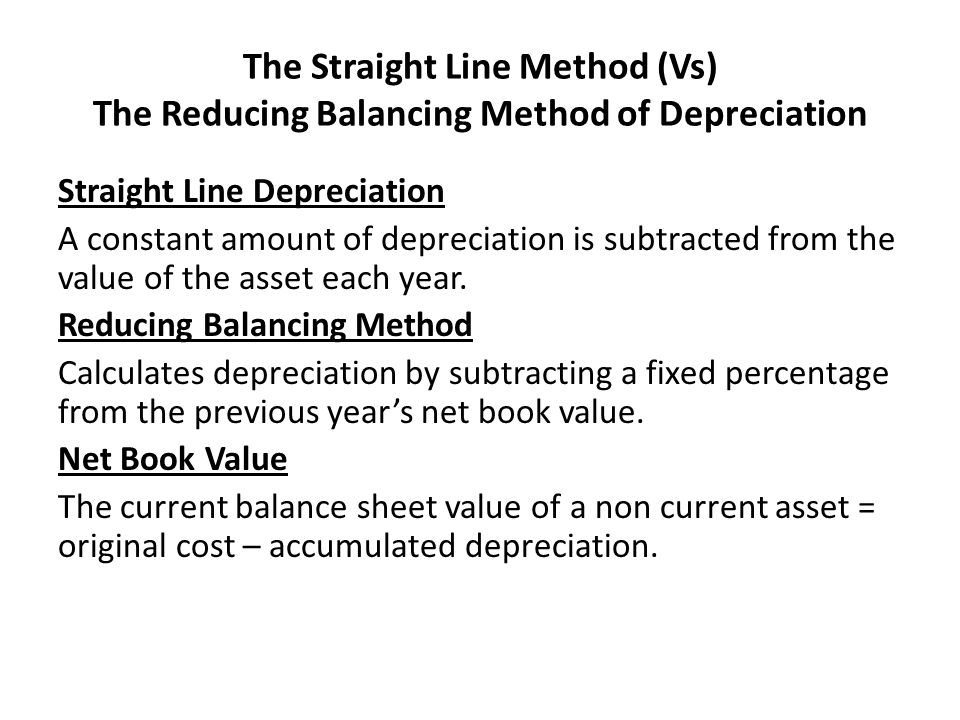 The Straight Line Method (Vs) The Reducing Balancing Method of Depreciation