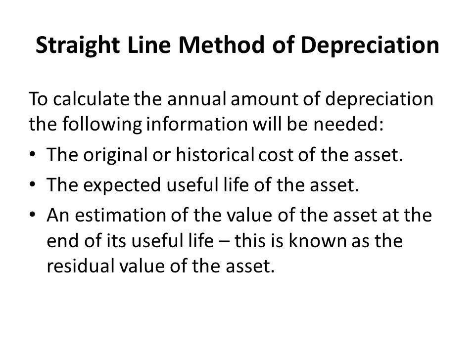 Straight Line Method of Depreciation