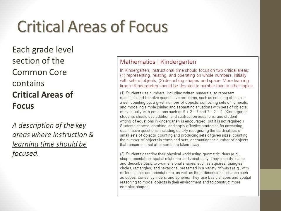 Critical Areas of Focus