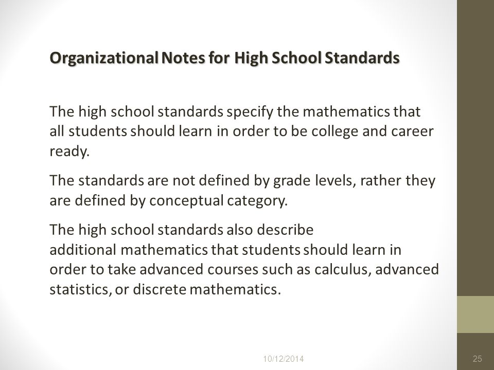 Organizational Notes for High School Standards