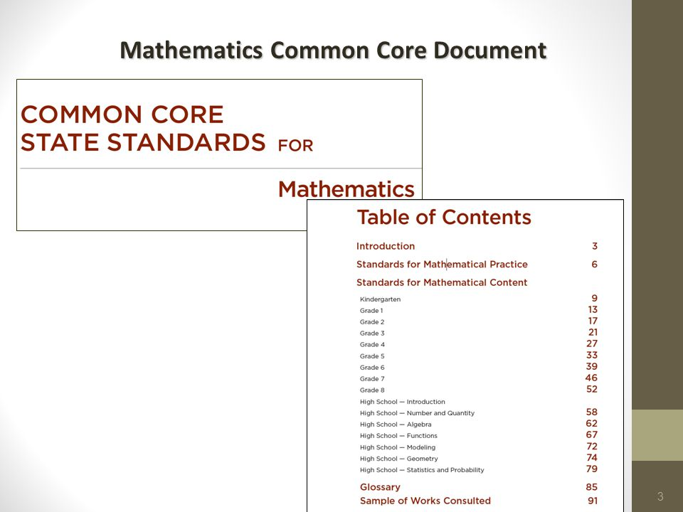 Mathematics Common Core Document