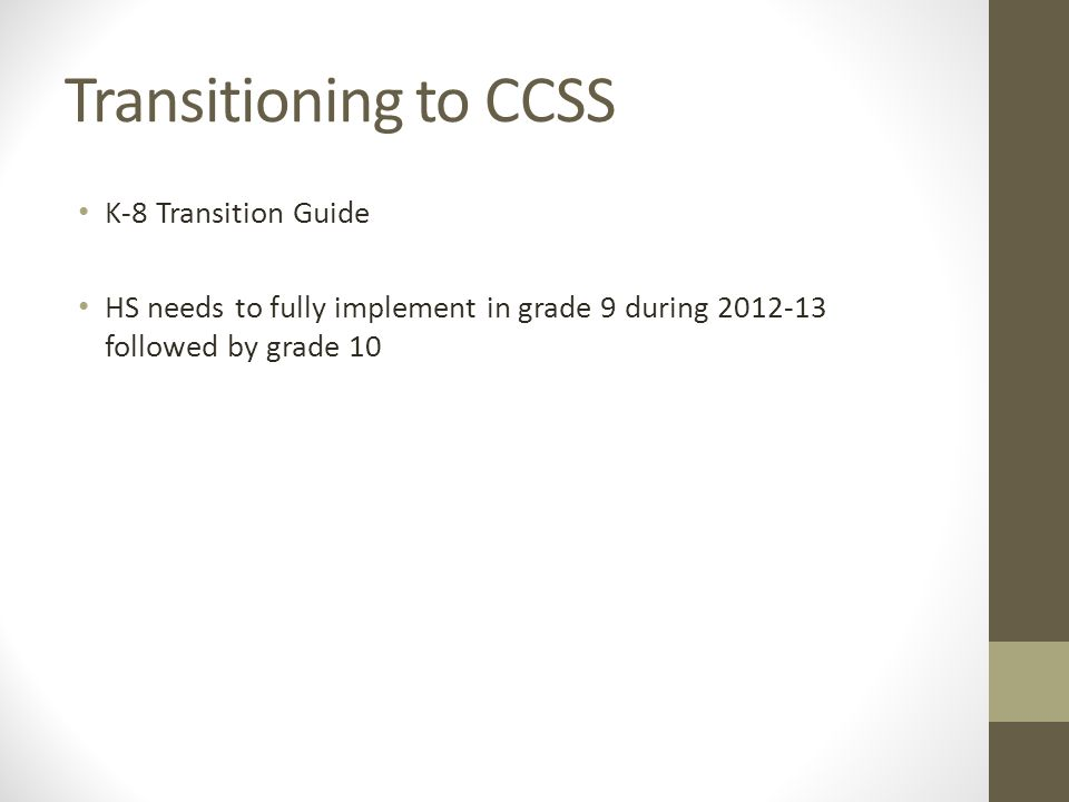 Transitioning to CCSS K-8 Transition Guide