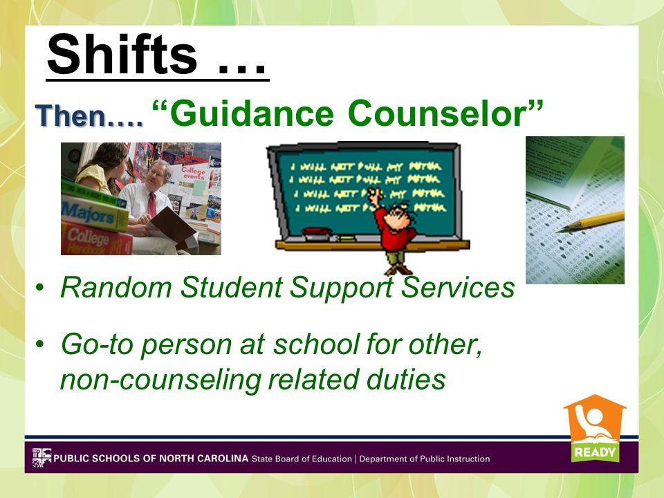 Shifts … Then…. Guidance Counselor Random Student Support Services