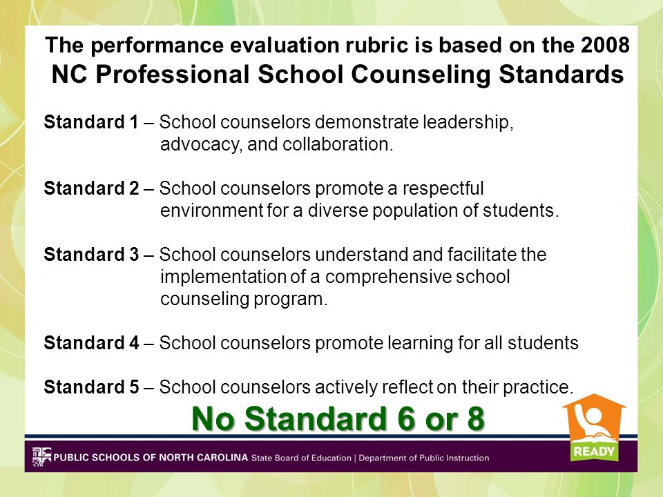No Standard 6 or 8 NC Professional School Counseling Standards