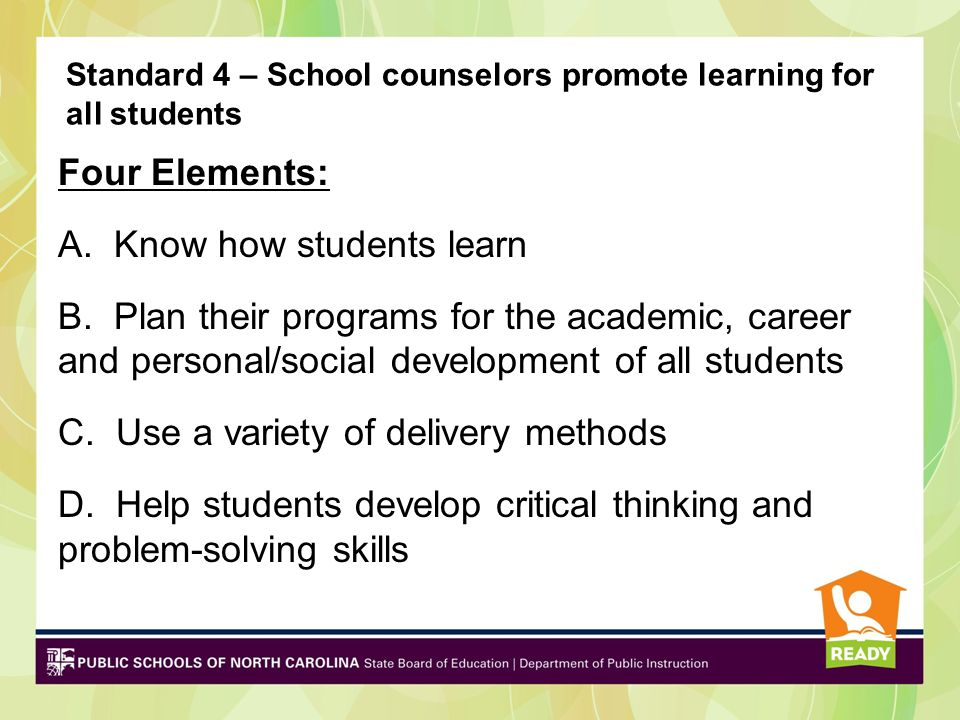 Standard 4 – School counselors promote learning for all students