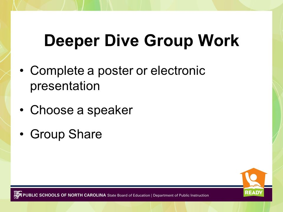 Deeper Dive Group Work Complete a poster or electronic presentation