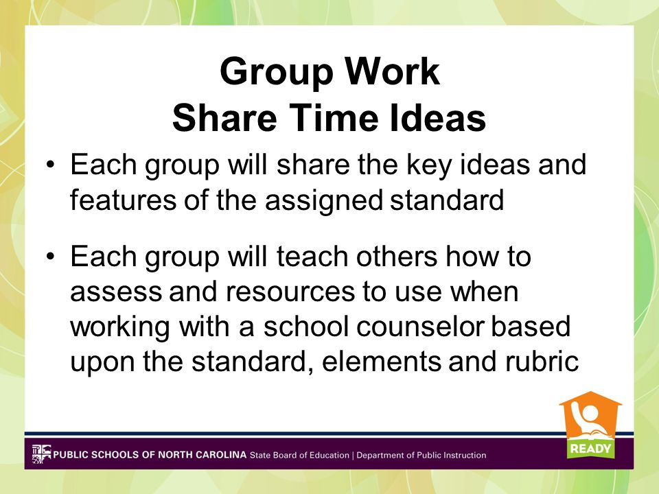 Group Work Share Time Ideas